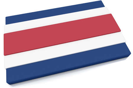 costa rican: Three dimensional Costa Rican flag button.  Part of set of country flags all in 2:3 proportion with accurate design and colors. Stock Photo