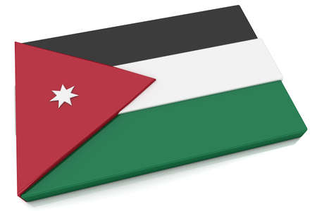 Three dimensional Jordanian flag button.  Part of set of country flags all in 2:3 proportion with accurate design and colors.