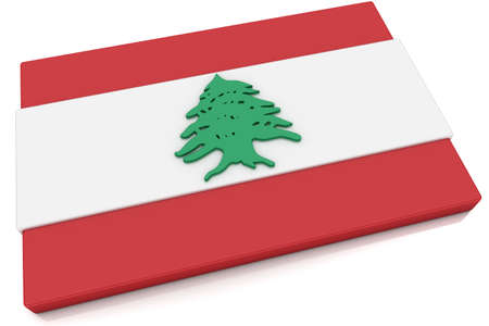 Three dimensional Lebanese flag button.  Part of set of country flags all in 2:3 proportion with accurate design and colors.