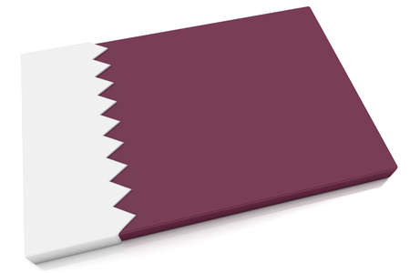Three dimensional Qatari flag button.  Part of set of country flags all in 2:3 proportion with accurate design and colors. Stock Photo