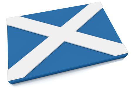 scottish flag: Three dimensional Scottish flag button.  Part of set of country flags all in 2:3 proportion with accurate design and colors. Stock Photo