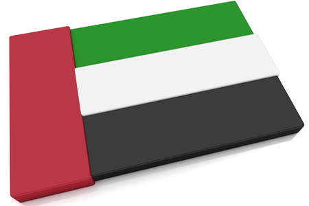 Three dimensional Emirati flag button.  Part of set of country flags all in 2:3 proportion with accurate design and colors.