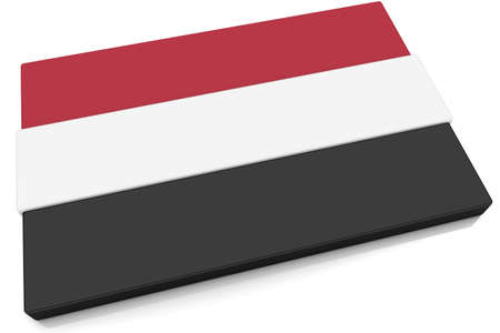 Three dimensional Yemeni flag button.  Part of set of country flags all in 2:3 proportion with accurate design and colors. photo