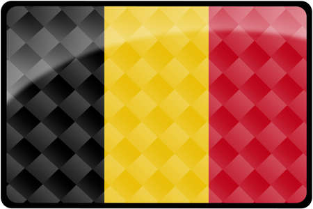 Stylish Belgian flag rectangular button with diamond pattern overlay.  Part of set of country flags all in 2:3 proportion with accurate design and colors.