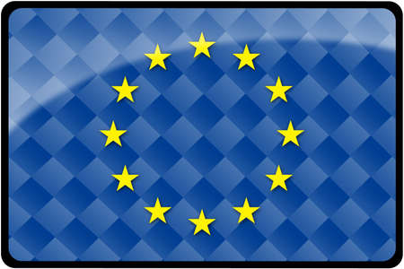 Stylish European flag rectangular button with diamond pattern overlay.  Part of set of country flags all in 2:3 proportion with accurate design and colors.