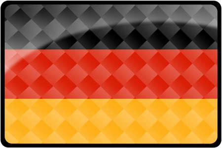 スタイリッシュなドイツの旗ダイヤモンド パターンをオーバーレイを持つ長方形のボタン。正確なデザインや色の 2:3 の割合ですべての国のフラグ