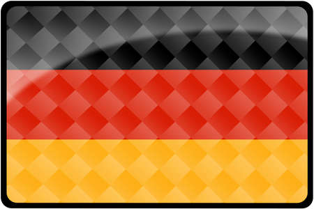 button: Stylish German flag rectangular button with diamond pattern overlay.  Part of set of country flags all in 2:3 proportion with accurate design and colors. Stock Photo