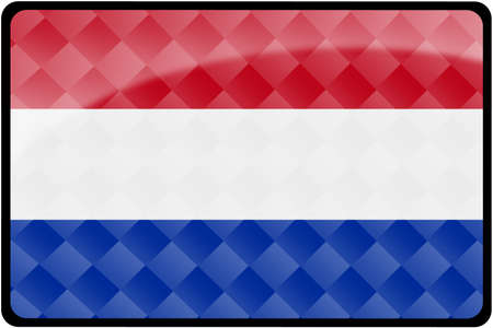 dutch: Stylish Dutch flag rectangular button with diamond pattern overlay.  Part of set of country flags all in 2:3 proportion with accurate design and colors. Stock Photo