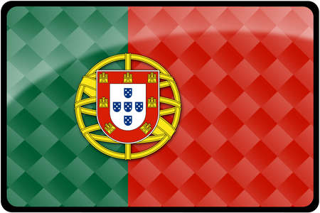 Stylish Portuguese flag rectangular button with diamond pattern overlay.  Part of set of country flags all in 2:3 proportion with accurate design and colors.