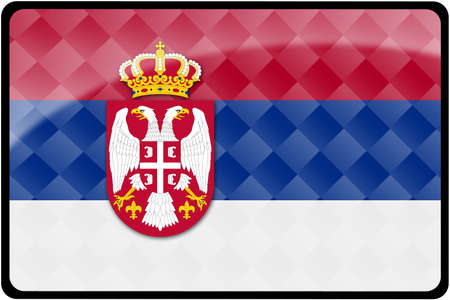 Stylish Serbian flag rectangular button with diamond pattern overlay.  Part of set of country flags all in 2:3 proportion with accurate design and colors. Stock Photo - 8205006