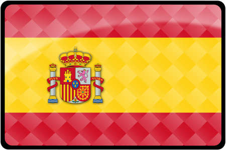 Stylish Spanish flag rectangular button with diamond pattern overlay.  Part of set of country flags all in 2:3 proportion with accurate design and colors. Stock Photo