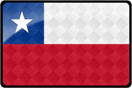 chilean flag: Bot�n rectangular con estilo bandera chilena con la participaci�n de patr�n de diamante.  Parte del conjunto de banderas de los pa�ses en proporci�n de 2: 3 con colores y dise�o precisa.