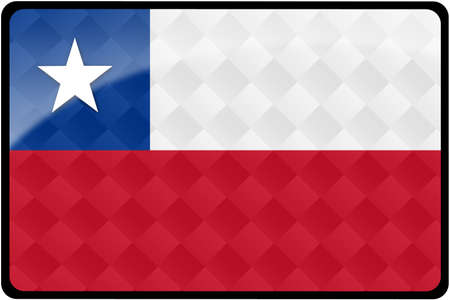 chilean flag: Stylish Chilean flag rectangular button with diamond pattern overlay.  Part of set of country flags all in 2:3 proportion with accurate design and colors.