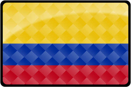 colombian flag: Stylish Colombian flag rectangular button with diamond pattern overlay.  Part of set of country flags all in 2:3 proportion with accurate design and colors.