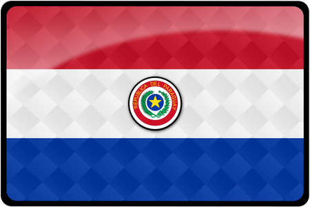 paraguayan: Stylish Paraguayan flag rectangular button with diamond pattern overlay.  Part of set of country flags all in 2:3 proportion with accurate design and colors.