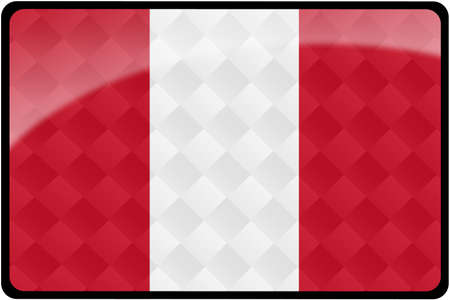 Stylish Peruvian flag rectangular button with diamond pattern overlay.  Part of set of country flags all in 2:3 proportion with accurate design and colors.