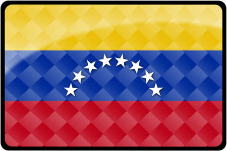 Stylish Venezuelan flag rectangular button with diamond pattern overlay.  Part of set of country flags all in 2:3 proportion with accurate design and colors. photo