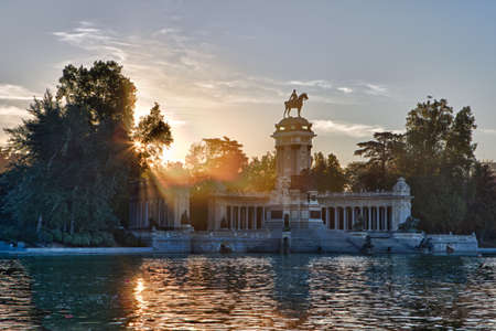 A view at dawn of the Monument to Alfonso XII in the Parque de Buen Retiro in Madird, Spain. photo