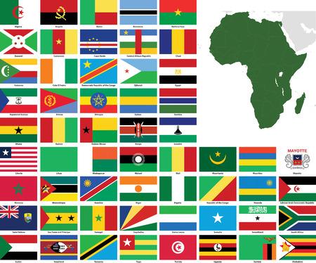 Set vlaggen en kaarten van alle Afrikaanse landen en afhankelijke gebieden.  Alle vlaggen hebben nauwkeurige kleuren en design en zijn in 3 x 2 rechthoekige verhoudingen.  Vlaggen en kaarten van elk land worden gegroepeerd voor eenvoudig gebruik. Stock Illustratie