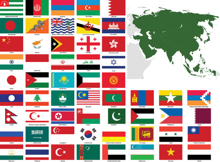 Set of flags and maps of all Asian countries and dependent territories.  All flags have accurate colors and design and are in 3x2 rectangular proportions.  Flags and maps of each country are grouped together for easy usage.
