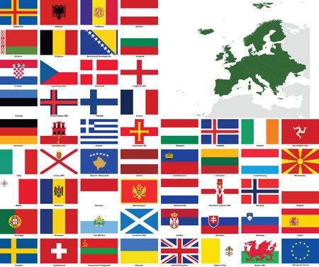 모든 유럽 국가 및 종속 영토의 플래그 및지도 집합입니다. 모든 플래그는 정확한 색상과 디자인을 가지고 있으며 3x2 직사각형 비율입니다. 쉬운 사용 일러스트
