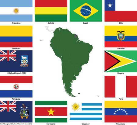 Set of flags and maps of all South American  countries and dependent territories.  All flags have accurate colors and design and are in 3x2 rectangular proportions.  Flags and maps of each country are grouped together for easy usage. 版權商用圖片 - 8371102