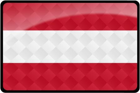 Stylish Austrian flag rectangular button with diamond pattern overlay.  Part of set of country flags all in 2:3 proportion with accurate design and colors.
