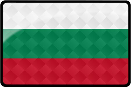 Stylish Bulgarian flag rectangular button with diamond pattern overlay.  Part of set of country flags all in 2:3 proportion with accurate design and colors. Stock Photo