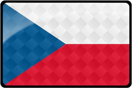 Stylish Czech flag rectangular button with diamond pattern overlay.  Part of set of country flags all in 2:3 proportion with accurate design and colors.