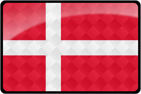 Stylish Danish flag rectangular button with diamond pattern overlay.  Part of set of country flags all in 2:3 proportion with accurate design and colors. photo