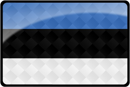 Stylish Estonian flag rectangular button with diamond pattern overlay.  Part of set of country flags all in 2:3 proportion with accurate design and colors. photo