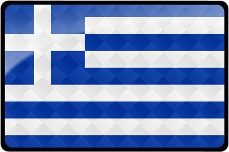 Stilvolle griechischer Flagge rechteckigen Schaltfläche mit Diamant-Muster-Overlay.  Teil der Reihe von Land Flaggen aller im 2: 3-Verhältnis mit genaue Design und Farben. Standard-Bild - 8371114