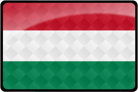 Stylish Hungarian flag rectangular button with diamond pattern overlay.  Part of set of country flags all in 2:3 proportion with accurate design and colors.