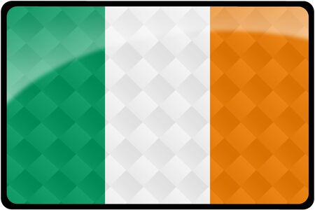 Stylish Irish flag rectangular button with diamond pattern overlay.  Part of set of country flags all in 2:3 proportion with accurate design and colors. Stock Photo - 8371100