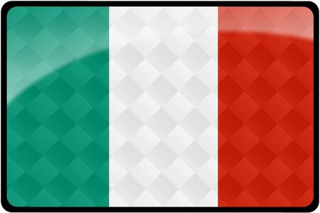 Stylish Italian flag rectangular button with diamond pattern overlay.  Part of set of country flags all in 2:3 proportion with accurate design and colors.