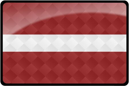 Stylish Latvian flag rectangular button with diamond pattern overlay.  Part of set of country flags all in 2:3 proportion with accurate design and colors. Stock fotó