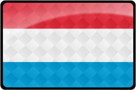 Stylish Luxembourg flag rectangular button with diamond pattern overlay.  Part of set of country flags all in 2:3 proportion with accurate design and colors.