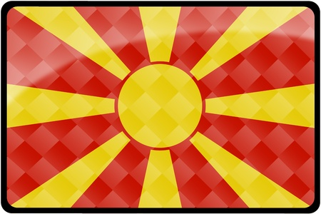 Stylish Macedonian flag rectangular button with diamond pattern overlay.  Part of set of country flags all in 2:3 proportion with accurate design and colors. Stock Photo