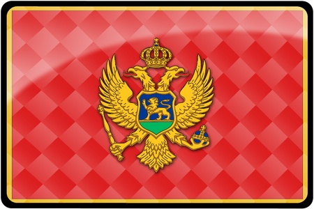 Stylish Montenegran flag rectangular button with diamond pattern overlay.  Part of set of country flags all in 2:3 proportion with accurate design and colors.
