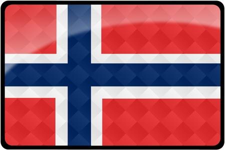 다이아몬드 패턴 오버레이 세련 된 노르웨이어 플래그 사각형 단추입니다. 정확한 디자인 및 색상으로 2 : 3 비율로 모든 국가 플래그 집합의 일부입니