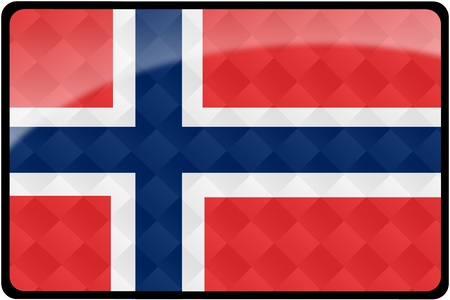 Stylish Norwegian flag rectangular button with diamond pattern overlay.  Part of set of country flags all in 2:3 proportion with accurate design and colors. photo