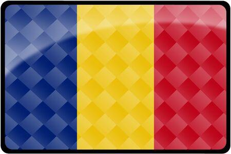 세련 된 루마니아어 플래그 사각형 단추와 다이아몬드 패턴 오버레이. 정확한 디자인 및 색상으로 2 : 3 비율로 모든 국가 플래그 집합의 일부입니다.