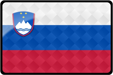 Stylish Slovenian flag rectangular button with diamond pattern overlay.  Part of set of country flags all in 2:3 proportion with accurate design and colors. 免版税图像