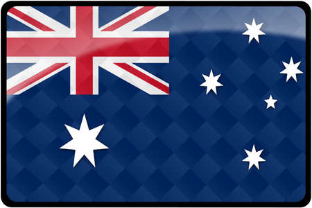 Stylish Australian flag rectangular button with diamond pattern overlay.  Part of set of country flags all in 2:3 proportion with accurate design and colors. Stok Fotoğraf
