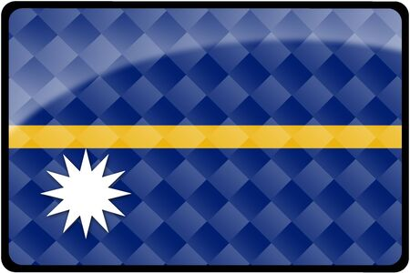 Stylish Nauru flag rectangular button with diamond pattern overlay.  Part of set of country flags all in 2:3 proportion with accurate design and colors.