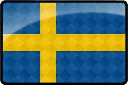 スタイリッシュなスウェーデンの旗ダイヤモンド パターンをオーバーレイと長方形のボタンです。 正確なデザインと色の 2:3 の割合ですべての国の