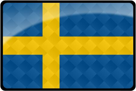 Stylish Swedish flag rectangular button with diamond pattern overlay.  Part of set of country flags all in 2:3 proportion with accurate design and colors.