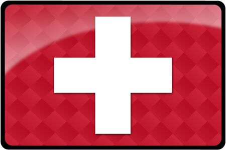 Stylish Swiss flag rectangular button with diamond pattern overlay.  Part of set of country flags all in 2:3 proportion with accurate design and colors.