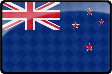 Stylish New Zealand flag rectangular button with diamond pattern overlay.  Part of set of country flags all in 2:3 proportion with accurate design and colors.