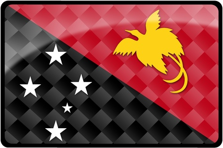 Stylish Papua New Guinea flag rectangular button with diamond pattern overlay.  Part of set of country flags all in 2:3 proportion with accurate design and colors.
